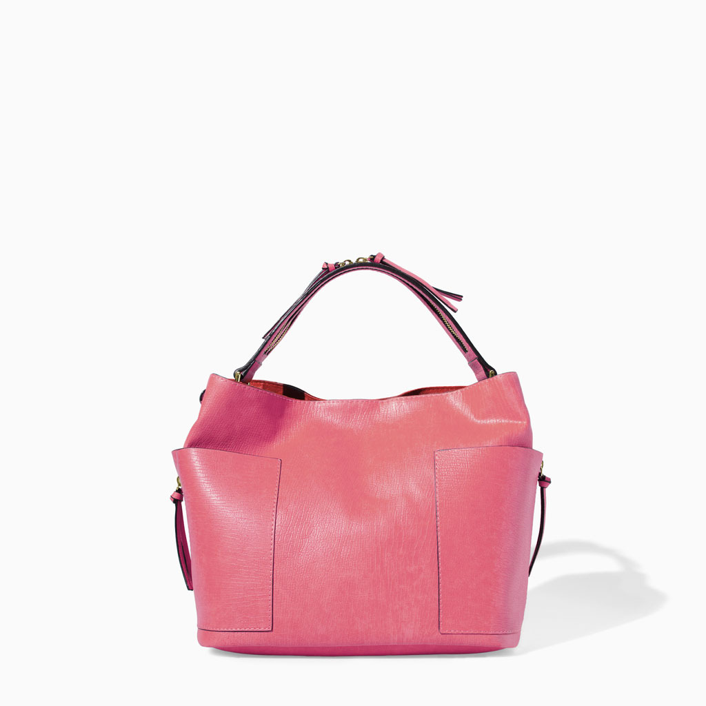 Bucket Bag With Zip - predominant colour: pink; occasions: casual, work, creative work; style: tote; length: shoulder (tucks under arm); size: standard; pattern: plain; finish: plain; material: pvc; trends: sorbet shades; season: s/s 2014