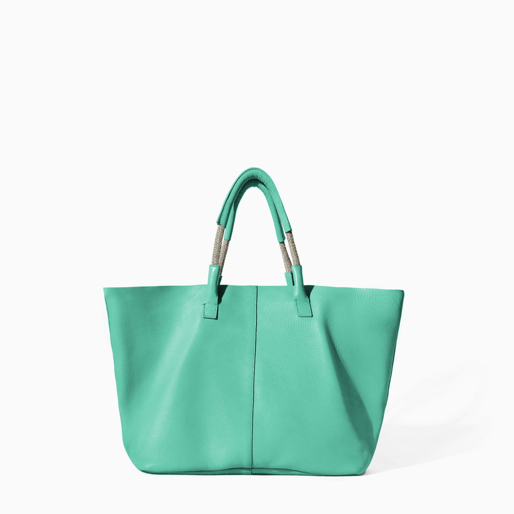 Leather Shopper - predominant colour: mint green; occasions: casual, holiday, creative work; style: tote; length: handle; size: standard; material: leather; pattern: plain; finish: plain; trends: sorbet shades; season: s/s 2014