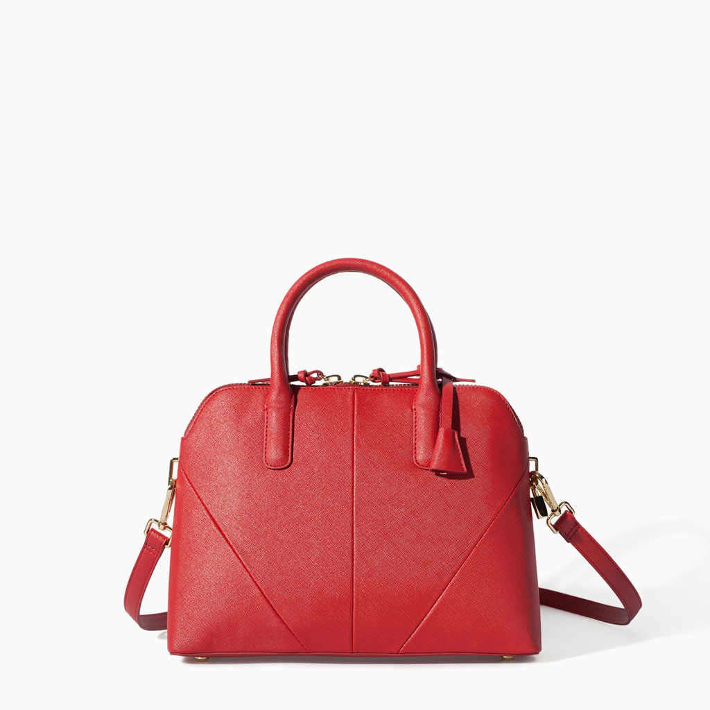 Mini City Bag - predominant colour: true red; occasions: casual, work, creative work; style: structured bag; length: handle; size: standard; material: faux leather; pattern: plain; finish: plain; trends: hot brights; season: s/s 2014