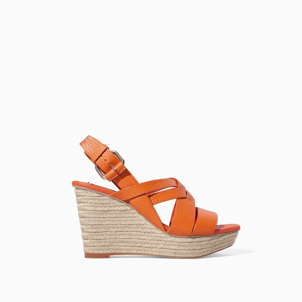 Leather Wedge With Straps - predominant colour: bright orange; occasions: casual, holiday; material: leather; heel: wedge; toe: open toe/peeptoe; style: standard; finish: plain; pattern: plain; heel height: very high; shoe detail: platform; trends: hot brights; season: s/s 2014