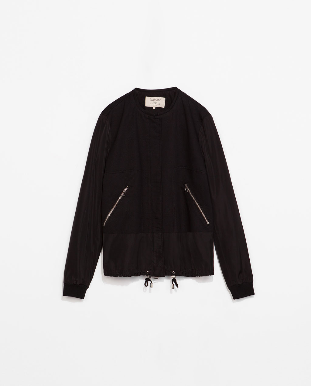 Jacket - pattern: plain; collar: round collar/collarless; style: bomber; predominant colour: black; occasions: casual; length: standard; fit: straight cut (boxy); fibres: cotton - 100%; sleeve length: long sleeve; sleeve style: standard; collar break: high; pattern type: fabric; texture group: woven light midweight; season: s/s 2014