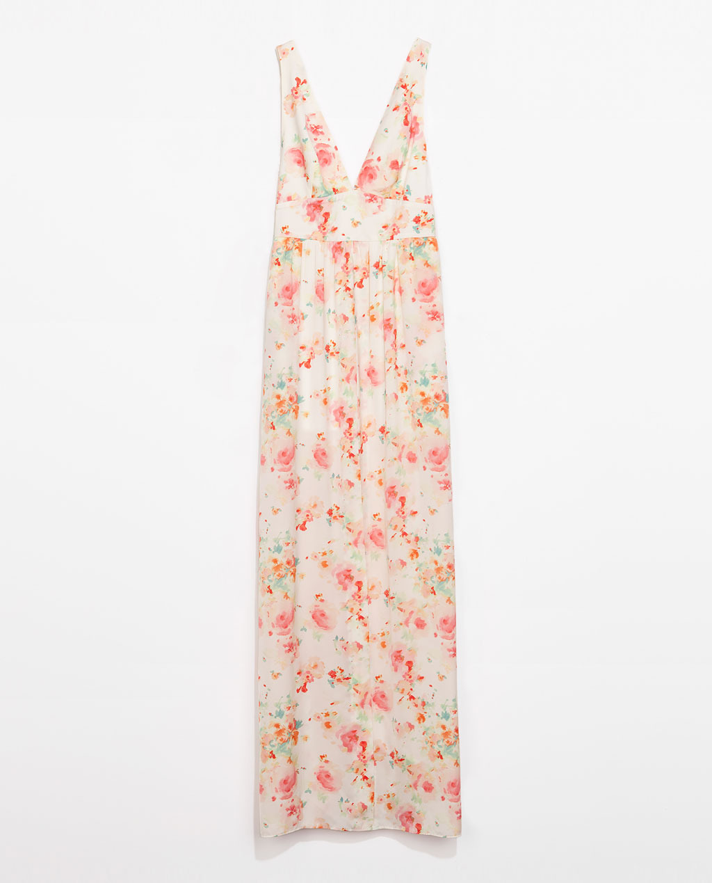 Long Dress With V Neckline - neckline: plunge; fit: empire; sleeve style: sleeveless; style: maxi dress; back detail: back revealing; predominant colour: ivory/cream; secondary colour: pink; occasions: casual, holiday; length: floor length; fibres: polyester/polyamide - 100%; sleeve length: sleeveless; texture group: sheer fabrics/chiffon/organza etc.; pattern type: fabric; pattern size: standard; pattern: florals; trends: furious florals; season: s/s 2014