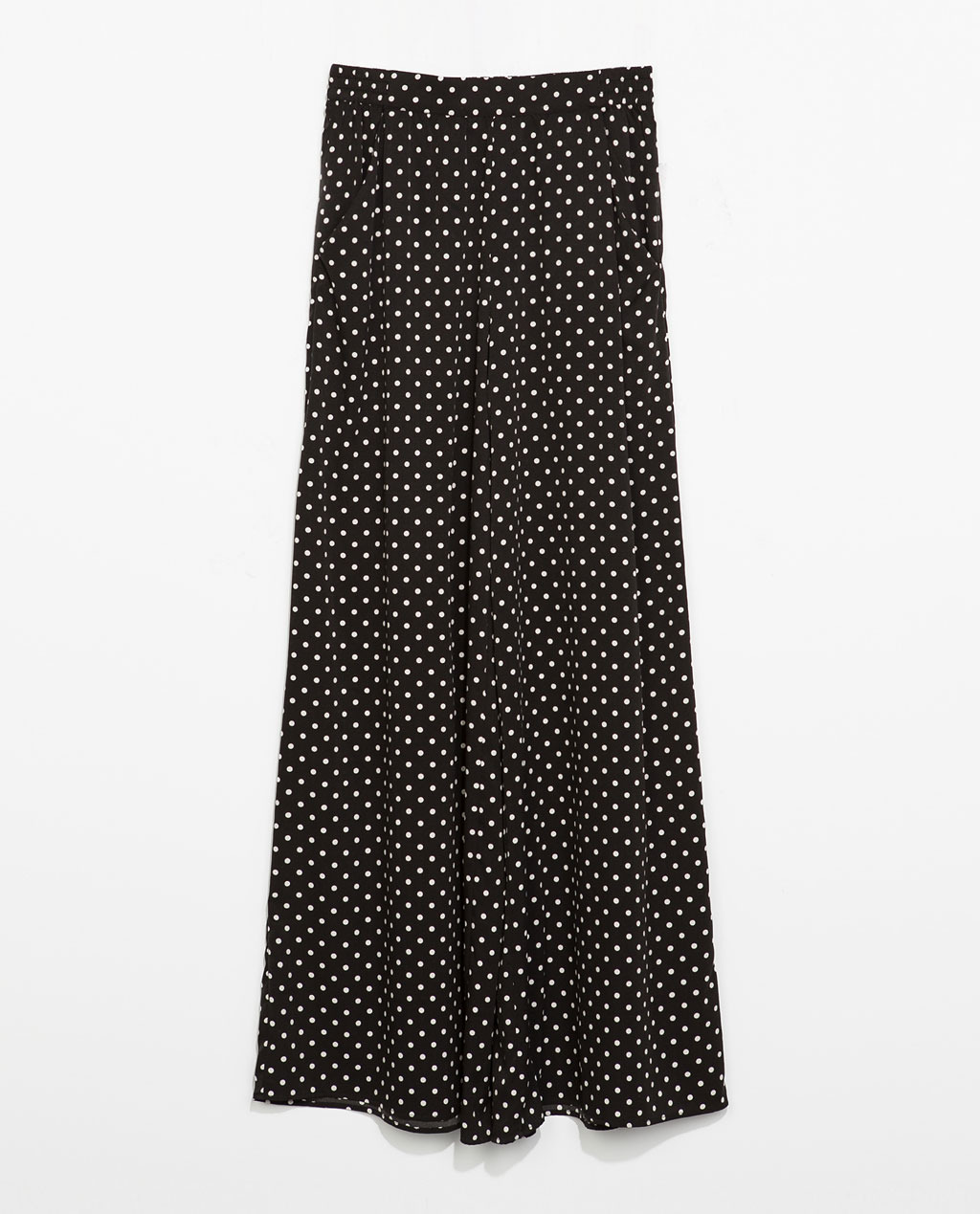 Wide Leg Polka Dot Trousers - length: standard; style: palazzo; pattern: polka dot; waist: mid/regular rise; secondary colour: white; predominant colour: black; occasions: casual, holiday, creative work; fibres: polyester/polyamide - 100%; fit: wide leg; pattern type: fabric; texture group: woven light midweight; season: s/s 2014; trends: monochrome; pattern size: standard (bottom)