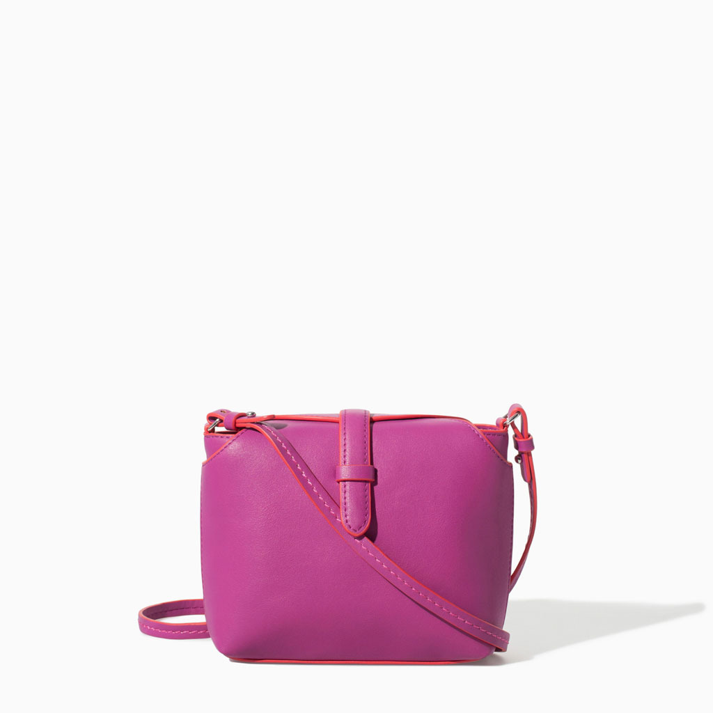Small Messenger Bag - predominant colour: magenta; occasions: casual, creative work; style: messenger; length: across body/long; size: small; material: faux leather; pattern: plain; finish: plain; trends: hot brights; season: s/s 2014