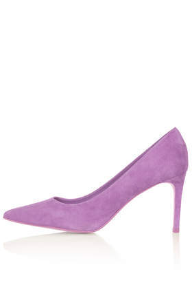 Golden Mid Heel Court Shoes - predominant colour: lilac; occasions: evening, work, occasion, creative work; material: suede; heel height: high; heel: stiletto; toe: pointed toe; style: courts; finish: plain; pattern: plain; trends: sorbet shades; season: s/s 2014