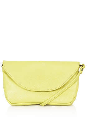 Leather Chain Strap Pouch Bag - predominant colour: primrose yellow; occasions: casual; type of pattern: standard; style: shoulder; length: across body/long; size: small; material: leather; pattern: plain; finish: plain; trends: sorbet shades; season: s/s 2014