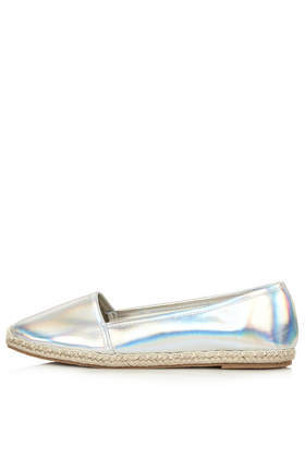 Tallulah Espadrilles - predominant colour: silver; occasions: casual, creative work; material: faux leather; heel height: flat; toe: round toe; finish: metallic; pattern: plain; style: espadrilles; trends: shimmery metallics; season: s/s 2014