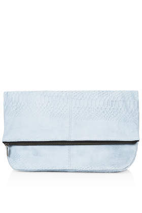 Suede Embossed Snake Clutch Bag - predominant colour: white; occasions: evening, occasion; type of pattern: standard; style: clutch; length: hand carry; size: small; material: suede; pattern: plain; finish: plain; trends: sorbet shades; season: s/s 2014