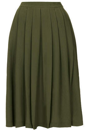 Khaki Full Midi Skirt - length: below the knee; pattern: plain; fit: loose/voluminous; style: pleated; waist: high rise; predominant colour: khaki; occasions: casual, evening, creative work; hip detail: adds bulk at the hips; pattern type: fabric; texture group: woven light midweight; fibres: viscose/rayon - mix; season: s/s 2014