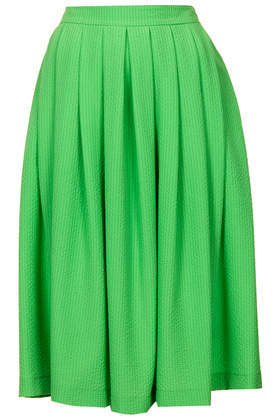 Green Full Midi Skirt - length: below the knee; pattern: plain; fit: loose/voluminous; style: pleated; waist: high rise; predominant colour: emerald green; occasions: casual, occasion, holiday, creative work; hip detail: adds bulk at the hips; pattern type: fabric; texture group: woven light midweight; fibres: viscose/rayon - mix; trends: hot brights; season: s/s 2014