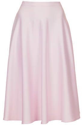 Wet Look Calf Skater Skirt - length: below the knee; pattern: plain; style: full/prom skirt; fit: loose/voluminous; waist: high rise; predominant colour: blush; occasions: casual, evening, occasion, creative work; fibres: polyester/polyamide - stretch; pattern type: fabric; texture group: woven light midweight; trends: sorbet shades; season: s/s 2014