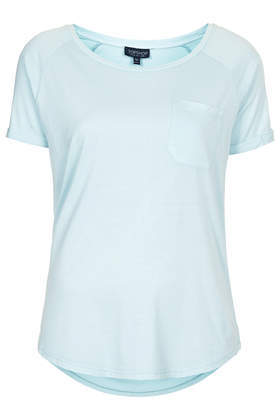 Washed Pocket Tee - neckline: round neck; sleeve style: raglan; pattern: plain; length: below the bottom; style: t-shirt; bust detail: pocket detail at bust; predominant colour: pale blue; occasions: casual, holiday; fit: body skimming; back detail: longer hem at back than at front; sleeve length: short sleeve; pattern type: fabric; texture group: jersey - stretchy/drapey; fibres: viscose/rayon - mix; trends: sorbet shades; season: s/s 2014