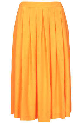 Yellow Full Midi Skirt - length: below the knee; pattern: plain; fit: loose/voluminous; style: pleated; waist: high rise; predominant colour: bright orange; occasions: casual, occasion, holiday, creative work; pattern type: fabric; texture group: woven light midweight; fibres: viscose/rayon - mix; trends: hot brights; season: s/s 2014