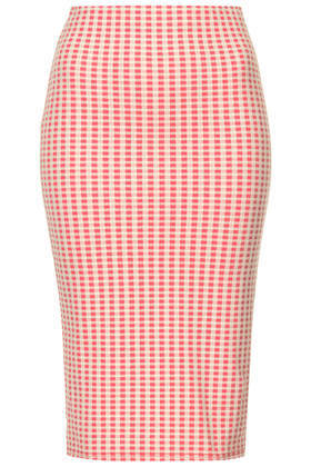 Pink Gingham Tube Skirt - pattern: checked/gingham; fit: tight; waist detail: elasticated waist; waist: high rise; secondary colour: ivory/cream; predominant colour: pink; occasions: casual, holiday, creative work; length: on the knee; fibres: polyester/polyamide - mix; style: tube; texture group: jersey - clingy; pattern type: fabric; season: s/s 2014; pattern size: standard (bottom); wardrobe: highlight