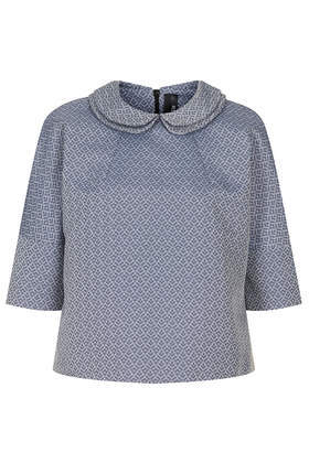 Dash Collar Top Boutique - predominant colour: navy; occasions: evening, work, creative work; length: standard; style: top; fibres: polyester/polyamide - 100%; fit: loose; neckline: no opening/shirt collar/peter pan; sleeve length: 3/4 length; sleeve style: standard; pattern type: fabric; pattern size: light/subtle; pattern: patterned/print; texture group: brocade/jacquard; season: s/s 2014