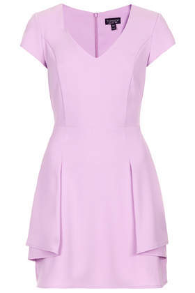 Peplum Fit And Flare Dress - length: mid thigh; neckline: low v-neck; pattern: plain; predominant colour: lilac; occasions: evening, occasion; fit: fitted at waist & bust; style: fit & flare; fibres: polyester/polyamide - 100%; sleeve length: short sleeve; sleeve style: standard; texture group: crepes; hip detail: ruffles/tiers/tie detail at hip; pattern type: fabric; trends: sorbet shades; season: s/s 2014