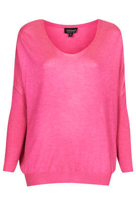 Knitted Fine Gauge V Neck Top - neckline: v-neck; pattern: plain; style: standard; predominant colour: hot pink; occasions: casual, creative work; length: standard; fibres: acrylic - mix; fit: loose; sleeve length: long sleeve; sleeve style: standard; texture group: knits/crochet; pattern type: knitted - fine stitch; trends: hot brights; season: s/s 2014