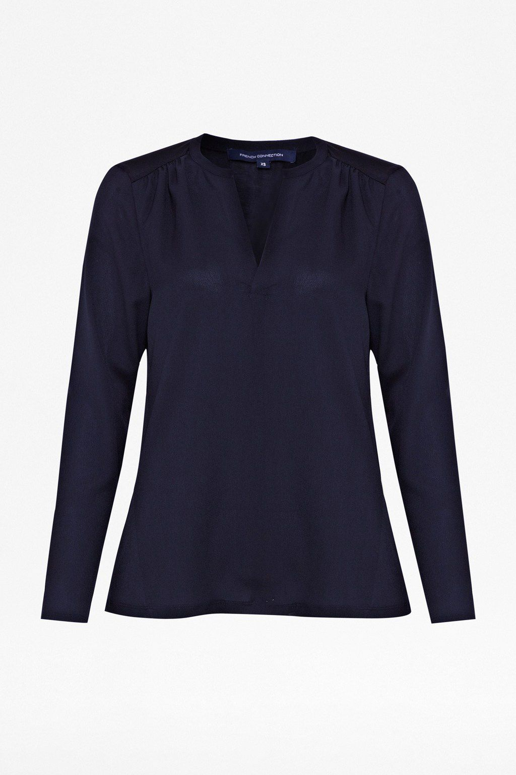 Classic Polly Plains Shirt, Utility Blue - pattern: plain; style: shirt; predominant colour: navy; occasions: casual, work, creative work; length: standard; neckline: collarstand & mandarin with v-neck; fibres: polyester/polyamide - mix; fit: straight cut; sleeve length: long sleeve; sleeve style: standard; pattern type: fabric; texture group: other - light to midweight; season: s/s 2014