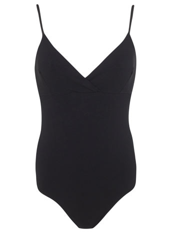 Faux Leather Strappy Body - neckline: low v-neck; sleeve style: spaghetti straps; pattern: plain; predominant colour: black; occasions: casual, holiday; length: standard; fibres: cotton - stretch; fit: tight; sleeve length: sleeveless; texture group: jersey - clingy; pattern type: fabric; style: bodysuit; season: s/s 2014