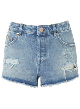 Light Wash Distressed Short - pattern: plain; pocket detail: pockets at the sides, traditional 5 pocket; waist: mid/regular rise; predominant colour: denim; occasions: casual, holiday; fibres: cotton - 100%; texture group: denim; pattern type: fabric; season: s/s 2014; style: denim; length: short shorts; fit: slim leg