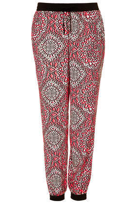 Mosaic Tile Joggers - length: standard; style: tracksuit pants; pattern: pinstripe; waist detail: belted waist/tie at waist/drawstring; waist: mid/regular rise; secondary colour: white; predominant colour: true red; occasions: casual, evening, holiday, creative work; fibres: polyester/polyamide - 100%; texture group: crepes; fit: baggy; pattern type: fabric; trends: world traveller; season: s/s 2014; pattern size: big & busy (bottom)