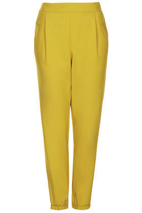 Tailored Cuff Joggers - length: standard; pattern: plain; style: peg leg; waist: high rise; predominant colour: mustard; occasions: casual, evening, work, creative work; fibres: viscose/rayon - stretch; hip detail: front pleats at hip level; jeans & bottoms detail: turn ups; fit: tapered; pattern type: fabric; texture group: woven light midweight; trends: hot brights; season: s/s 2014