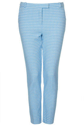 Gingham Cigarette Trousers - pattern: checked/gingham; style: capri; waist: mid/regular rise; secondary colour: ivory/cream; predominant colour: pale blue; occasions: casual, evening, creative work; length: ankle length; fibres: cotton - stretch; fit: slim leg; pattern type: fabric; texture group: woven light midweight; season: s/s 2014; pattern size: standard (bottom)