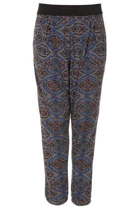 Petite Bead Tile Tapered Trousers - length: standard; waist detail: elasticated waist; style: peg leg; waist: mid/regular rise; predominant colour: charcoal; secondary colour: black; occasions: casual, creative work; fibres: polyester/polyamide - 100%; fit: tapered; pattern type: fabric; pattern: patterned/print; texture group: jersey - stretchy/drapey; season: s/s 2014; pattern size: standard (bottom)