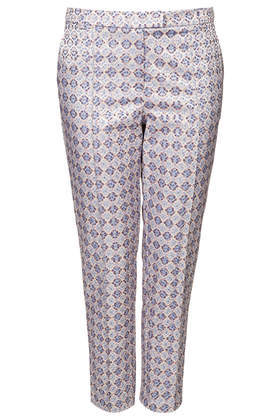 Petite Folk Tile Trousers - waist: mid/regular rise; secondary colour: royal blue; predominant colour: light grey; occasions: casual, evening, creative work; length: ankle length; fibres: cotton - stretch; fit: tapered; pattern type: fabric; pattern: patterned/print; texture group: brocade/jacquard; style: standard; season: s/s 2014; pattern size: standard (bottom)