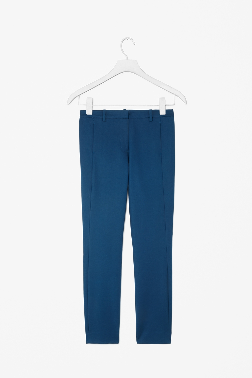 Slim Cotton Trousers - length: standard; pattern: plain; waist: mid/regular rise; predominant colour: royal blue; occasions: casual, evening, creative work; style: chino; fibres: cotton - stretch; texture group: cotton feel fabrics; fit: slim leg; pattern type: fabric; season: s/s 2014