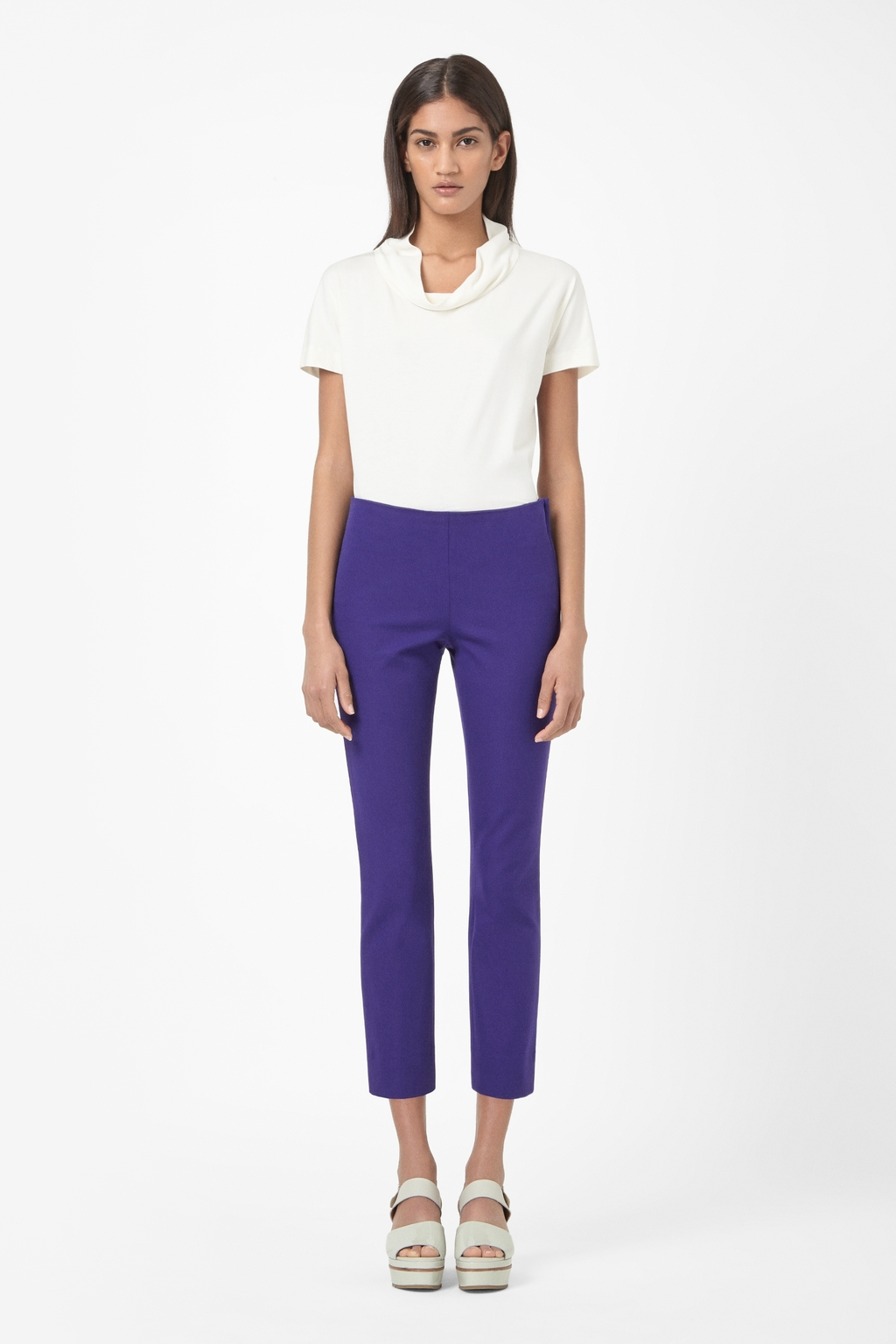 Cropped Side Zip Trousers - pattern: plain; waist: mid/regular rise; predominant colour: purple; occasions: casual, evening, work, creative work; length: calf length; style: chino; fibres: cotton - stretch; texture group: cotton feel fabrics; fit: slim leg; pattern type: fabric; season: s/s 2014