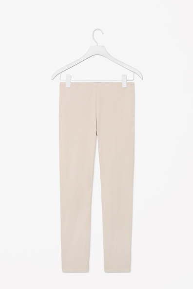 Slim Side Zip Trousers - pattern: plain; waist: mid/regular rise; predominant colour: stone; occasions: casual, evening, work, creative work; length: ankle length; fibres: cotton - stretch; fit: slim leg; pattern type: fabric; texture group: other - light to midweight; style: standard; trends: sorbet shades; season: s/s 2014