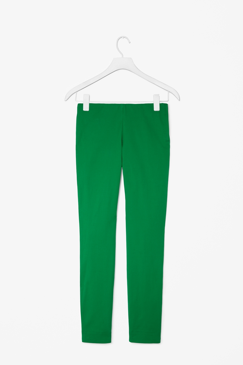 Slim Side Zip Trousers - pattern: plain; waist: mid/regular rise; predominant colour: emerald green; occasions: casual, evening, creative work; length: ankle length; fibres: cotton - stretch; fit: slim leg; pattern type: fabric; texture group: other - light to midweight; style: standard; season: s/s 2014