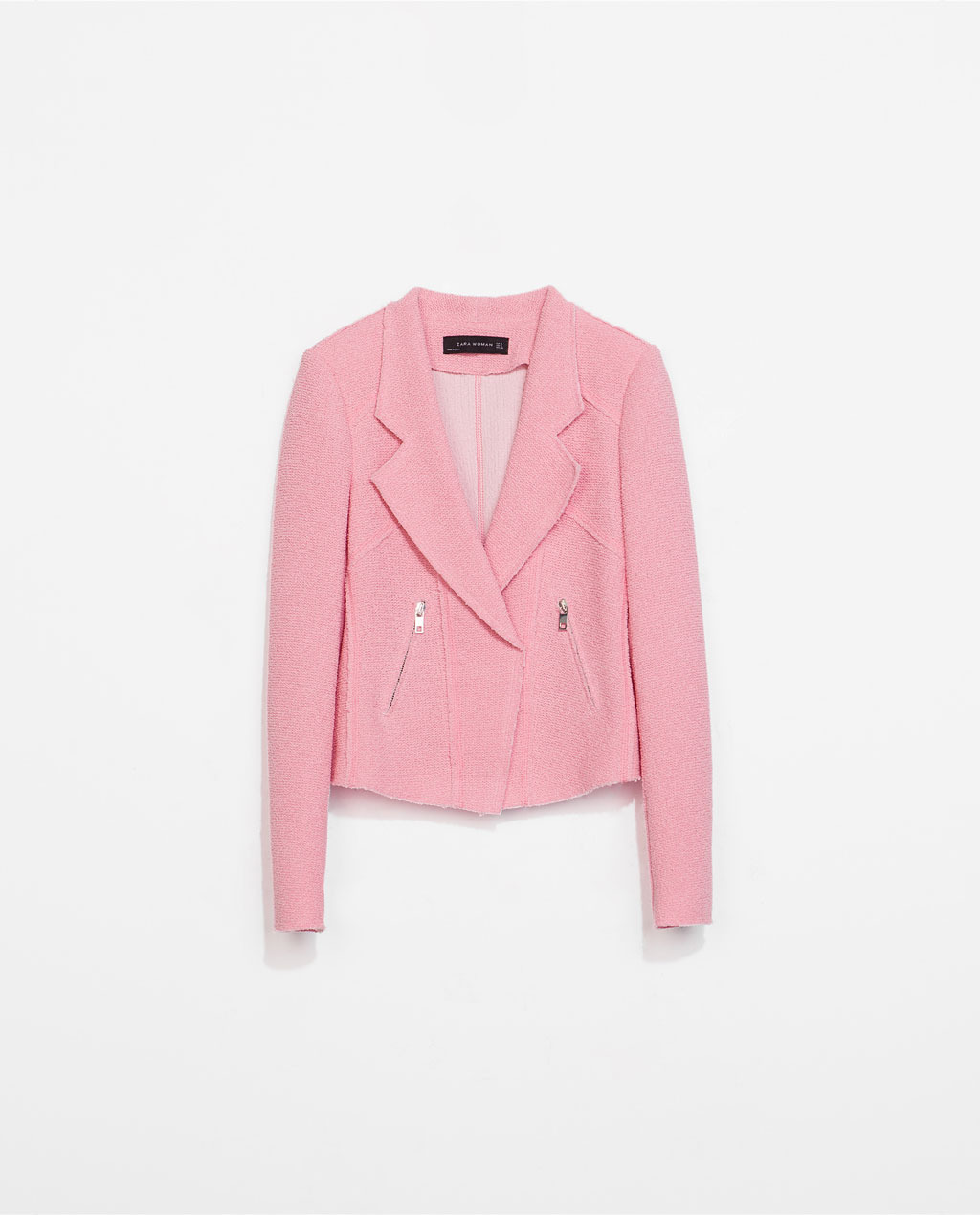 Biker Jacket - pattern: plain; style: single breasted blazer; fit: slim fit; collar: standard lapel/rever collar; predominant colour: pink; occasions: casual, evening, creative work; length: standard; fibres: cotton - mix; sleeve length: long sleeve; sleeve style: standard; collar break: low/open; pattern type: fabric; texture group: tweed - light/midweight; season: s/s 2014
