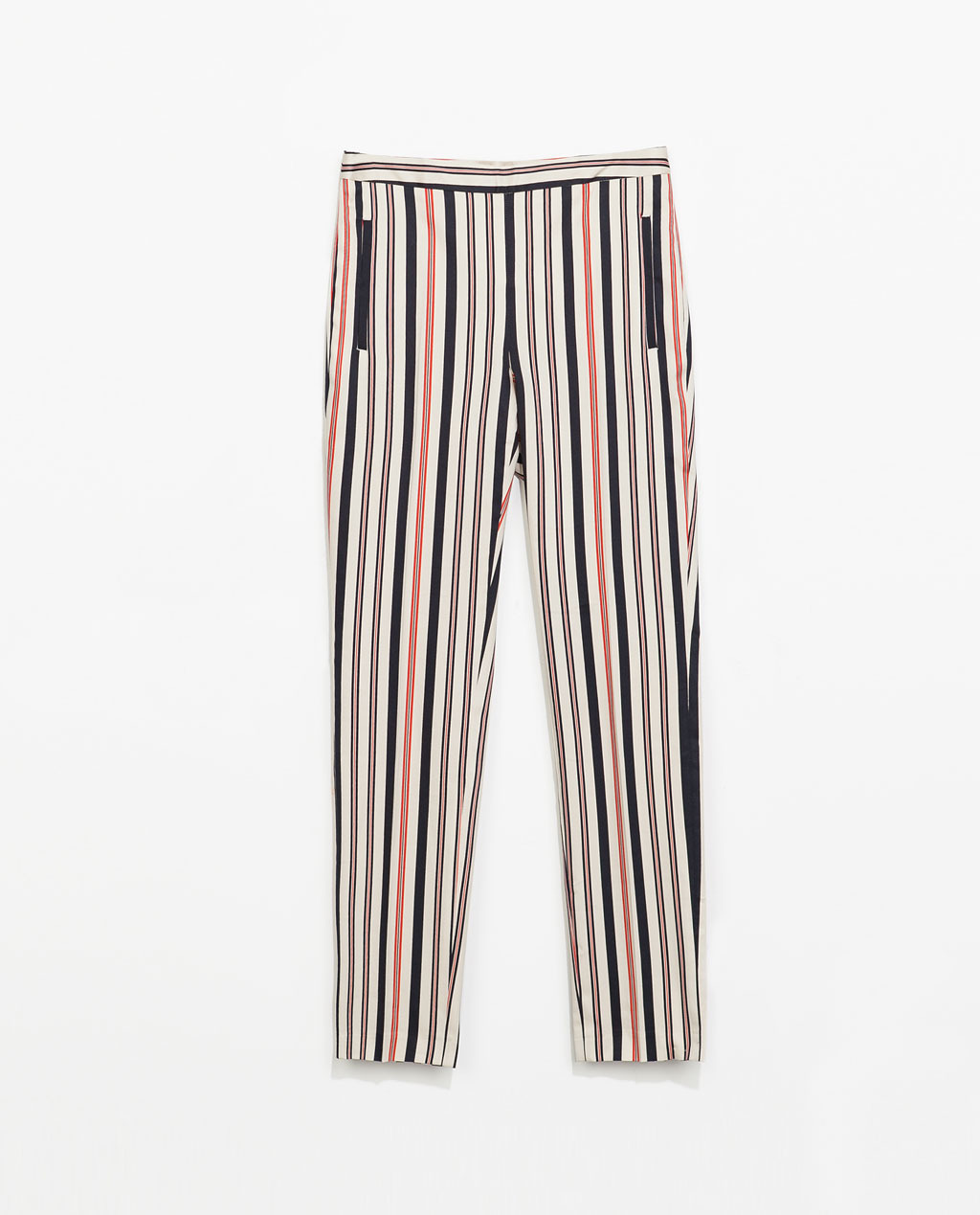 Striped Cropped Trousers - pattern: vertical stripes; pocket detail: small back pockets; waist: mid/regular rise; occasions: casual, holiday, creative work; length: ankle length; fibres: cotton - stretch; predominant colour: multicoloured; texture group: cotton feel fabrics; fit: slim leg; pattern type: fabric; style: standard; season: s/s 2014; pattern size: standard (bottom); multicoloured: multicoloured