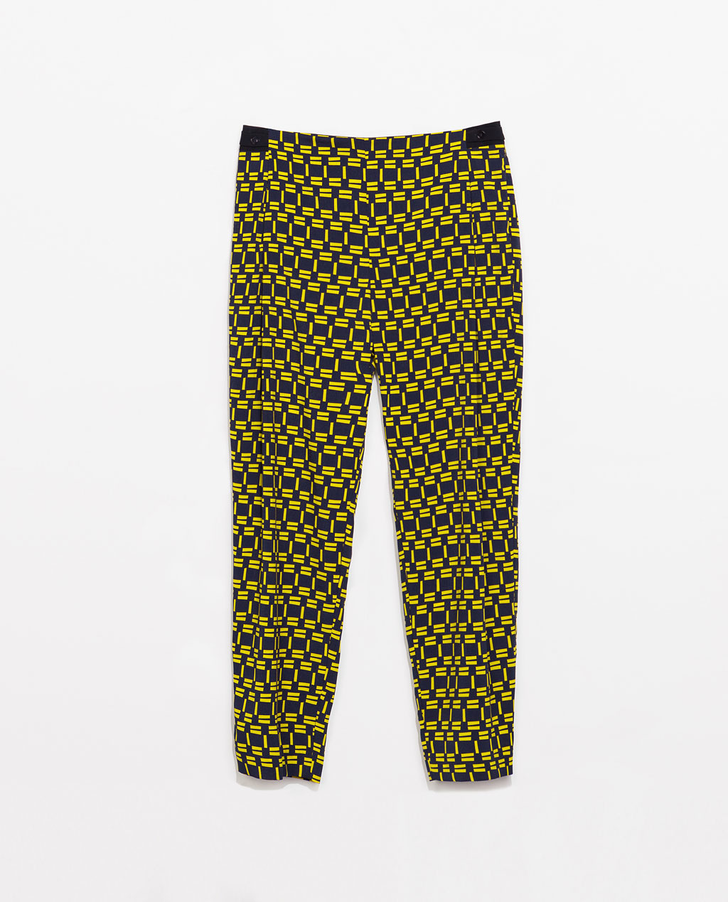Print Trousers - waist: low rise; predominant colour: navy; secondary colour: yellow; occasions: casual, evening, holiday, creative work; length: ankle length; fibres: polyester/polyamide - 100%; texture group: crepes; fit: wide leg; pattern type: fabric; pattern: patterned/print; style: standard; trends: world traveller; season: s/s 2014; pattern size: standard (bottom)