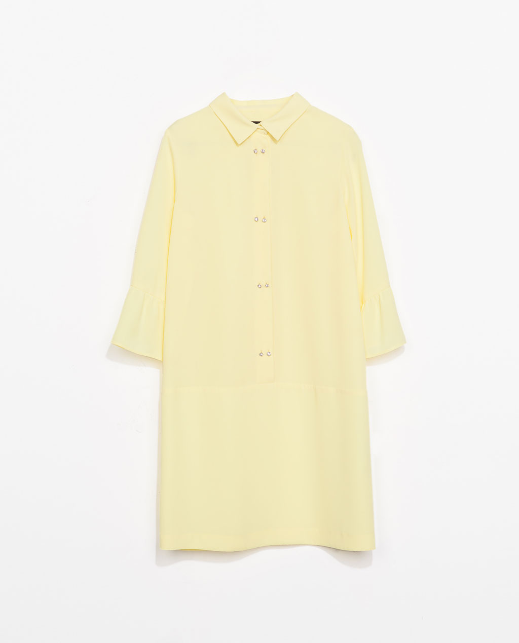 Dress With Jewel Buttons - style: shirt; length: mid thigh; neckline: shirt collar/peter pan/zip with opening; pattern: plain; waist detail: drop waist; predominant colour: primrose yellow; occasions: casual, evening, holiday, creative work; fit: soft a-line; fibres: polyester/polyamide - 100%; sleeve length: 3/4 length; sleeve style: standard; texture group: sheer fabrics/chiffon/organza etc.; pattern type: fabric; embellishment: crystals/glass; season: s/s 2014; wardrobe: highlight; embellishment location: bust