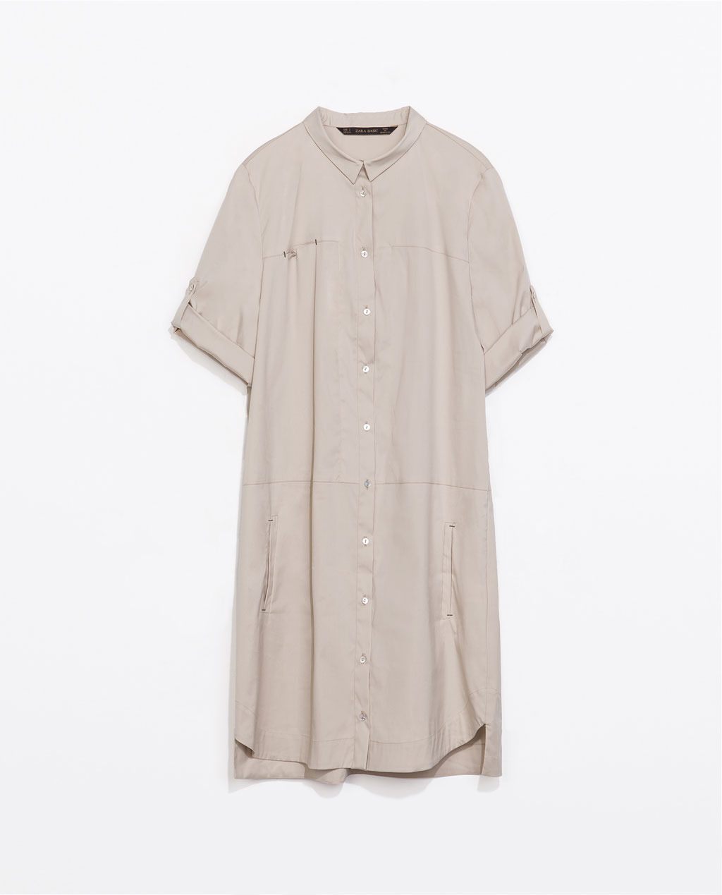 Dress - style: shirt; length: mid thigh; neckline: shirt collar/peter pan/zip with opening; fit: loose; pattern: plain; predominant colour: stone; occasions: casual, holiday; fibres: cotton - mix; sleeve length: short sleeve; sleeve style: standard; pattern type: fabric; texture group: other - light to midweight; season: s/s 2014