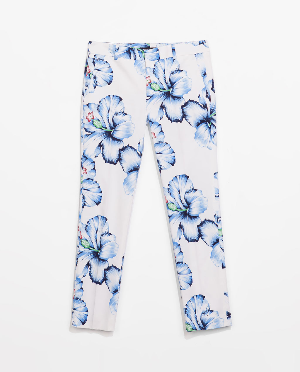 Floral Print Trousers - waist: low rise; predominant colour: white; secondary colour: pale blue; occasions: casual, creative work; length: ankle length; fibres: cotton - stretch; texture group: cotton feel fabrics; fit: slim leg; pattern type: fabric; pattern: florals; style: standard; trends: furious florals; season: s/s 2014; pattern size: standard (bottom)