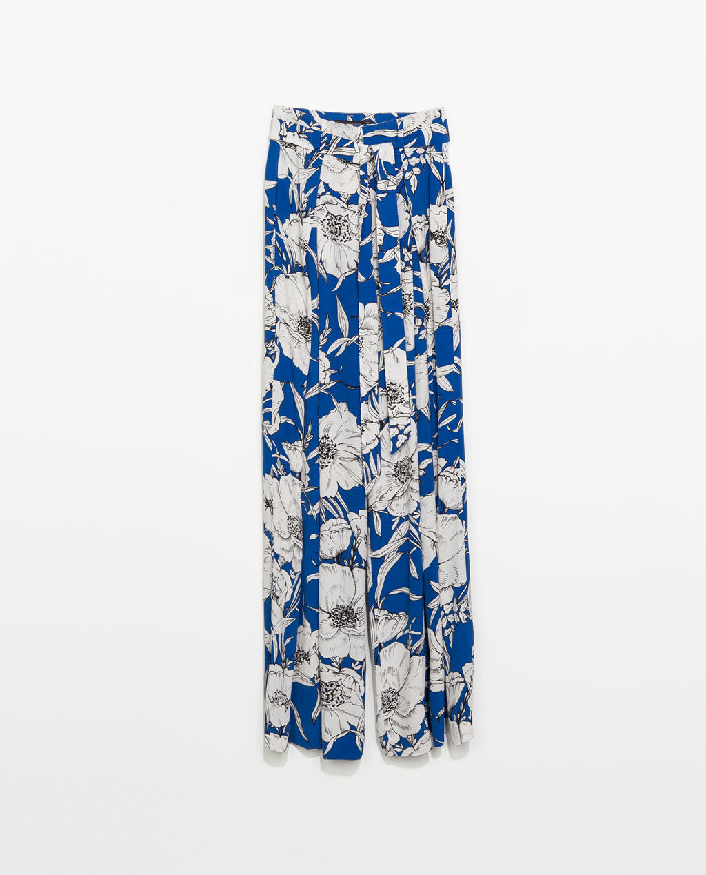 Loose Fit Printed Trousers - length: standard; style: palazzo; waist: high rise; waist detail: belted waist/tie at waist/drawstring; predominant colour: royal blue; secondary colour: light grey; occasions: casual, occasion, holiday, creative work; fibres: viscose/rayon - 100%; hip detail: front pleats at hip level; fit: wide leg; pattern type: fabric; pattern: florals; texture group: woven light midweight; trends: furious florals; season: s/s 2014; pattern size: big & busy (bottom)
