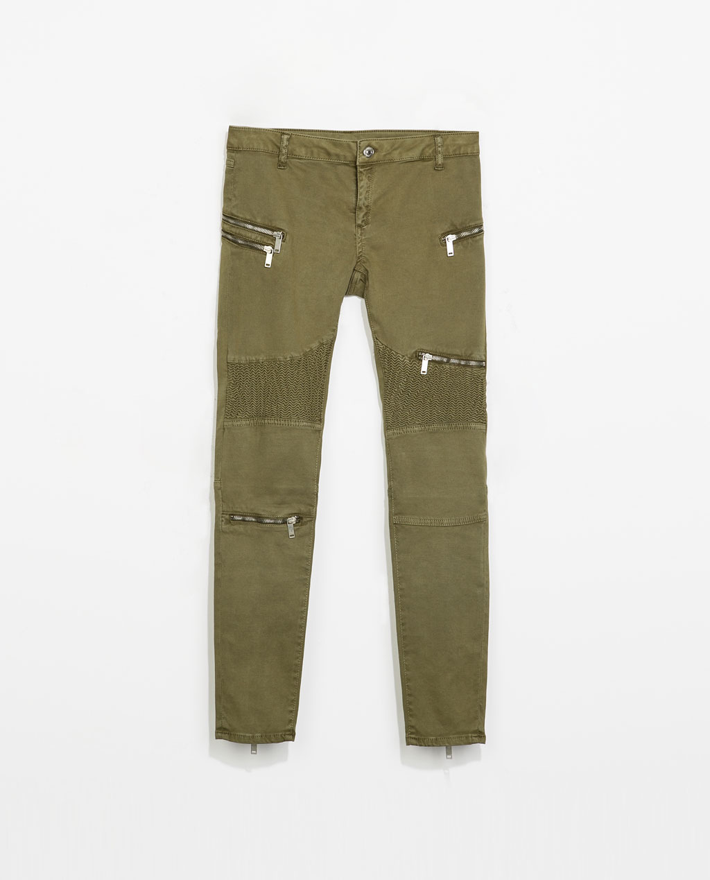 Skinny Biker Trousers - pattern: plain; waist: mid/regular rise; style: cargo; predominant colour: khaki; occasions: casual, creative work; length: ankle length; fibres: cotton - stretch; texture group: cotton feel fabrics; fit: skinny/tight leg; pattern type: fabric; season: s/s 2014