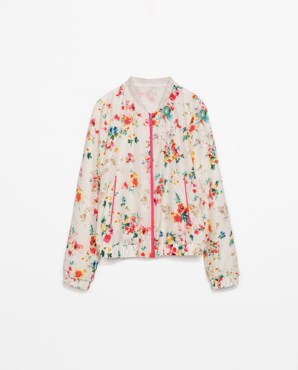 Printed Bomber Jacket - collar: round collar/collarless; style: bomber; secondary colour: ivory/cream; occasions: casual, creative work; length: standard; fit: straight cut (boxy); fibres: polyester/polyamide - 100%; predominant colour: multicoloured; sleeve length: long sleeve; sleeve style: standard; collar break: high; pattern type: fabric; pattern size: standard; pattern: florals; texture group: other - light to midweight; season: s/s 2014; multicoloured: multicoloured