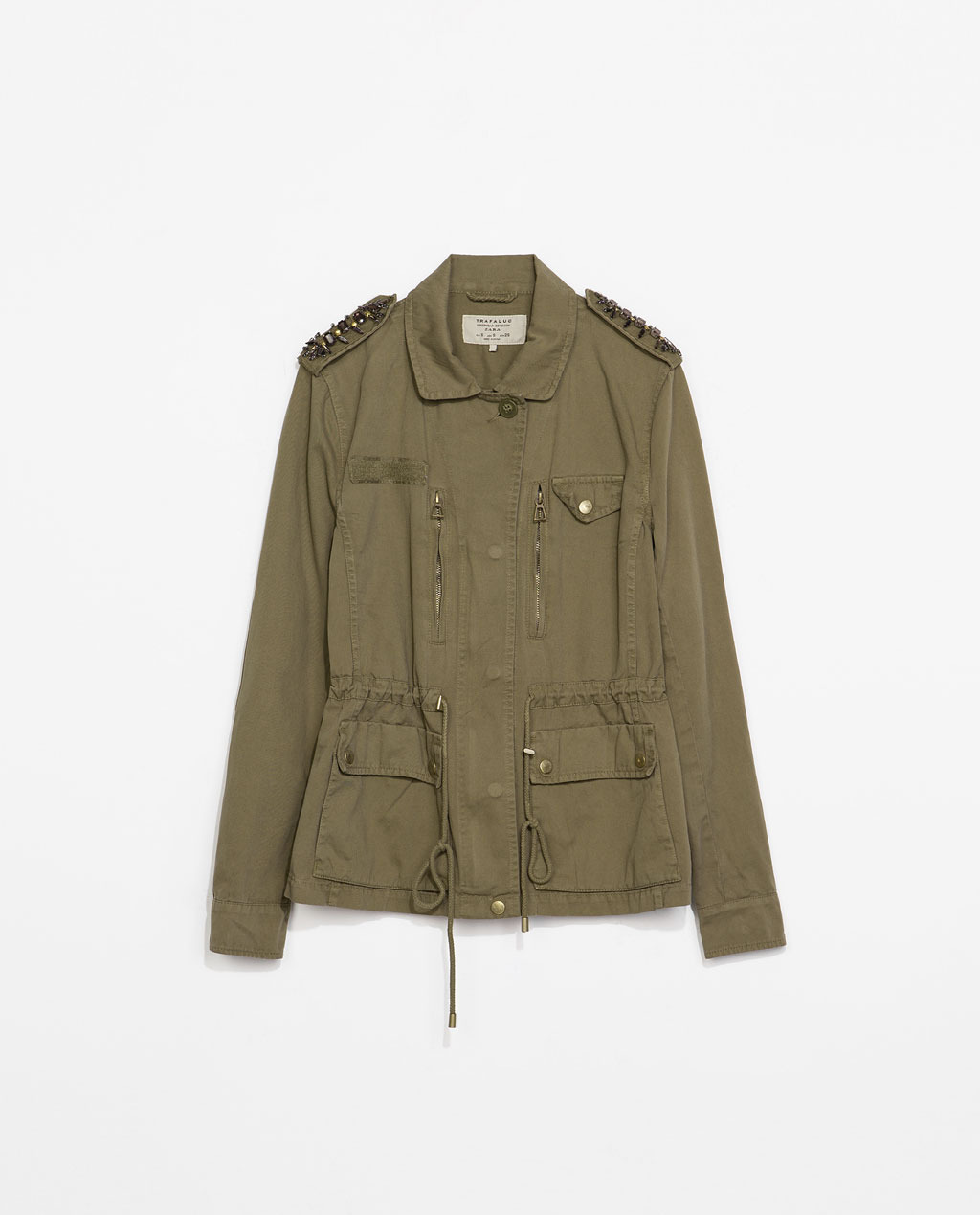Military Stye Jacket - pattern: plain; shoulder detail: obvious epaulette; length: below the bottom; predominant colour: khaki; occasions: casual, creative work; fit: straight cut (boxy); fibres: cotton - 100%; collar: shirt collar/peter pan/zip with opening; waist detail: belted waist/tie at waist/drawstring; sleeve length: long sleeve; sleeve style: standard; texture group: cotton feel fabrics; collar break: high/illusion of break when open; pattern type: fabric; embellishment: jewels/stone; style: single breasted military jacket; trends: summer sparkle; season: s/s 2014