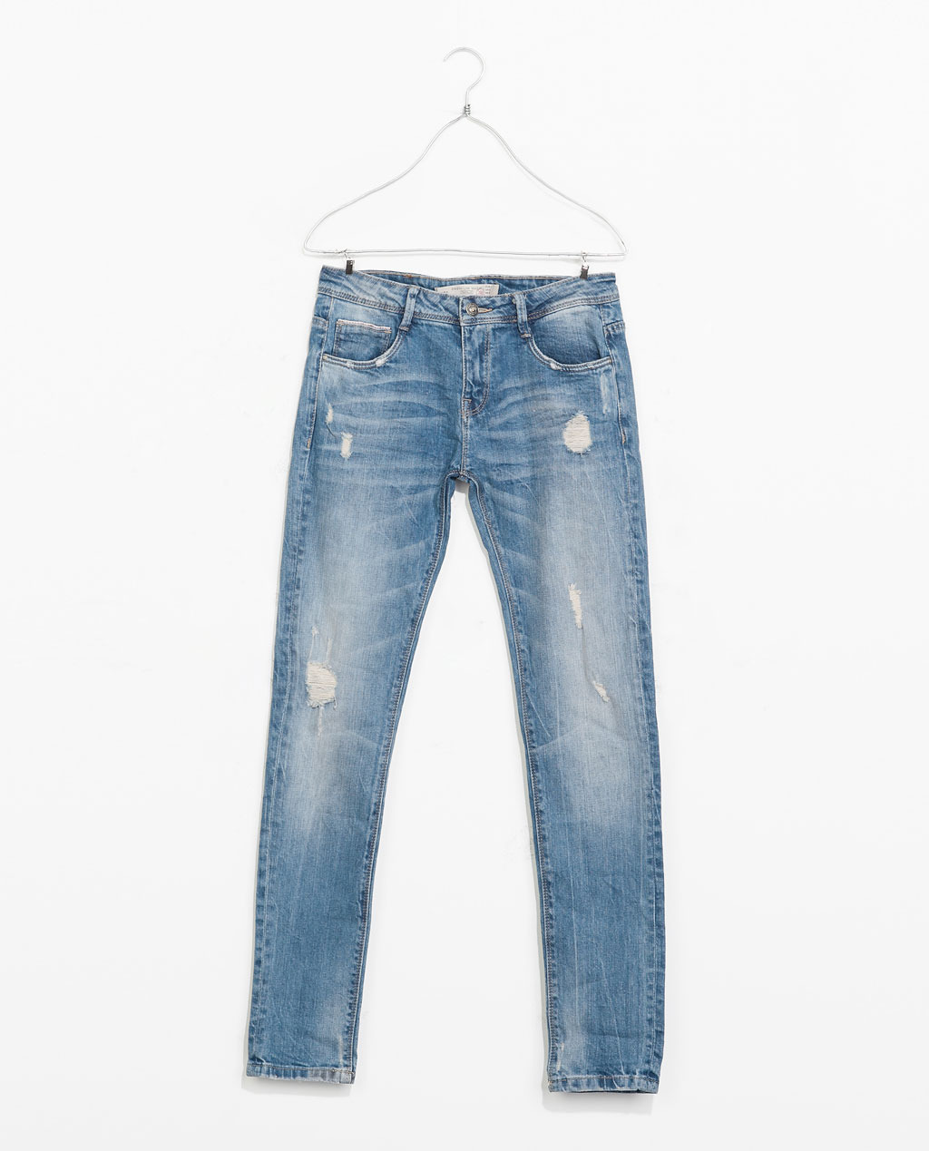 5 Pocket Jeans - length: standard; pattern: plain; pocket detail: traditional 5 pocket; style: slim leg; waist: mid/regular rise; predominant colour: denim; occasions: casual; fibres: cotton - stretch; jeans detail: whiskering, shading down centre of thigh, washed/faded; texture group: denim; pattern type: fabric; season: s/s 2014