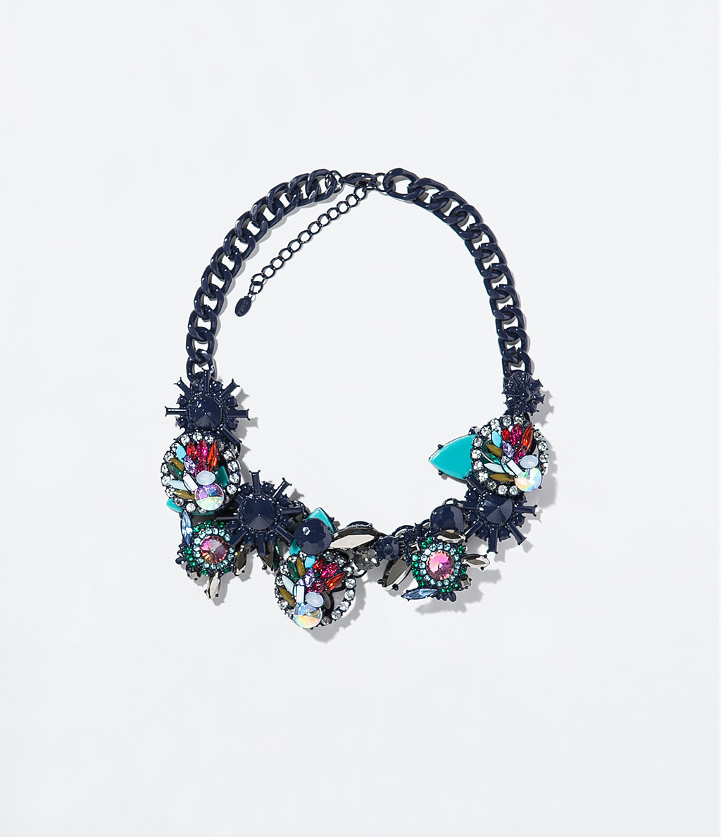 Necklace With Geometric Rhinestones - secondary colour: pink; predominant colour: navy; occasions: evening, occasion; length: short; size: large/oversized; material: chain/metal; finish: metallic; embellishment: jewels/stone; style: bib/statement; season: s/s 2014