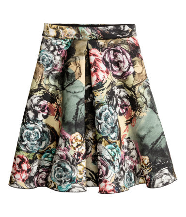 Patterned Skirt - style: full/prom skirt; fit: loose/voluminous; waist: high rise; occasions: casual, occasion, creative work; length: on the knee; fibres: viscose/rayon - 100%; hip detail: adds bulk at the hips; predominant colour: multicoloured; pattern type: fabric; pattern: florals; texture group: other - light to midweight; trends: furious florals; season: s/s 2014; pattern size: big & busy (bottom); multicoloured: multicoloured