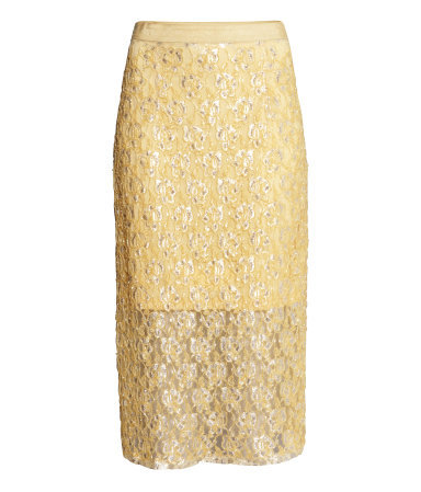 Beaded Skirt - length: calf length; style: straight; fit: tailored/fitted; waist: high rise; predominant colour: gold; occasions: evening, occasion; fibres: polyester/polyamide - mix; texture group: lace; pattern type: fabric; pattern: patterned/print; embellishment: beading; season: s/s 2014; wardrobe: event; embellishment location: all over