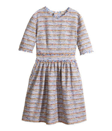 Dress In A Textured Weave - pattern: herringbone/tweed; occasions: casual, evening, creative work; length: just above the knee; fit: fitted at waist & bust; style: fit & flare; fibres: cotton - mix; neckline: crew; hip detail: adds bulk at the hips; predominant colour: multicoloured; sleeve length: short sleeve; sleeve style: standard; pattern type: fabric; pattern size: standard; texture group: tweed - light/midweight; season: s/s 2014; multicoloured: multicoloured