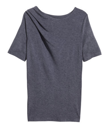 Draped Top - neckline: round neck; pattern: plain; predominant colour: charcoal; occasions: casual; length: standard; style: top; fit: body skimming; shoulder detail: subtle shoulder detail; sleeve length: short sleeve; sleeve style: standard; pattern type: fabric; texture group: jersey - stretchy/drapey; season: s/s 2014