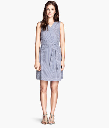 Wrap Dress - style: faux wrap/wrap; length: mid thigh; neckline: v-neck; pattern: vertical stripes; sleeve style: sleeveless; waist detail: belted waist/tie at waist/drawstring; secondary colour: white; predominant colour: pale blue; occasions: casual, holiday; fit: fitted at waist & bust; fibres: cotton - 100%; sleeve length: sleeveless; texture group: cotton feel fabrics; pattern type: fabric; pattern size: standard; season: s/s 2014